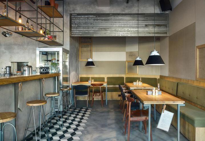 Tavolino industrial ~ Caffetteria bistrot stile industriale tavolo scaffalatura bancone