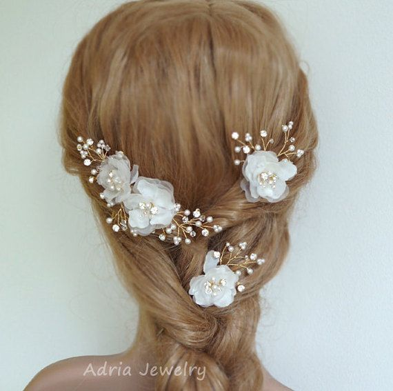 Silk Flower Wedding Headpieces Gold Bridal Hair Pieces Babys Breath Off White And Ivory Flowers