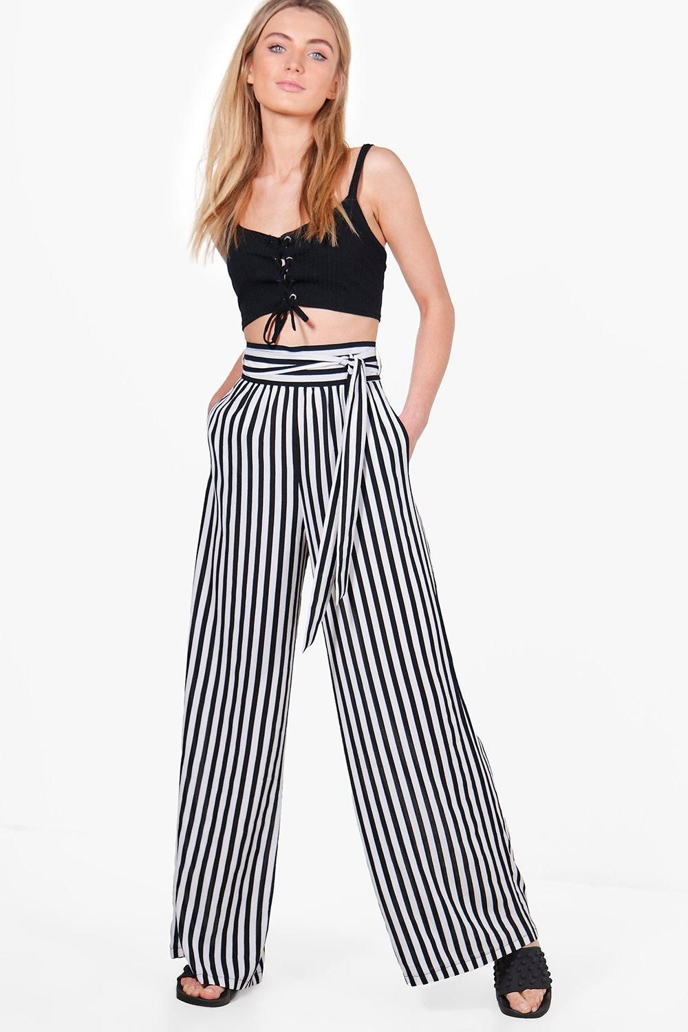 dbc967bebaf6 Tie Waist Striped Wide Leg Trousers | Smart | Striped wide leg ...