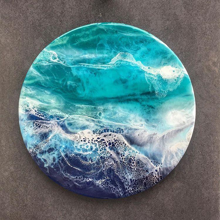 "Instagram'da Banu Demirel: ""Reminds me of a reef 💙 #resinartwork #epoxy #colorcompanion #abatractart #resin #reef"""