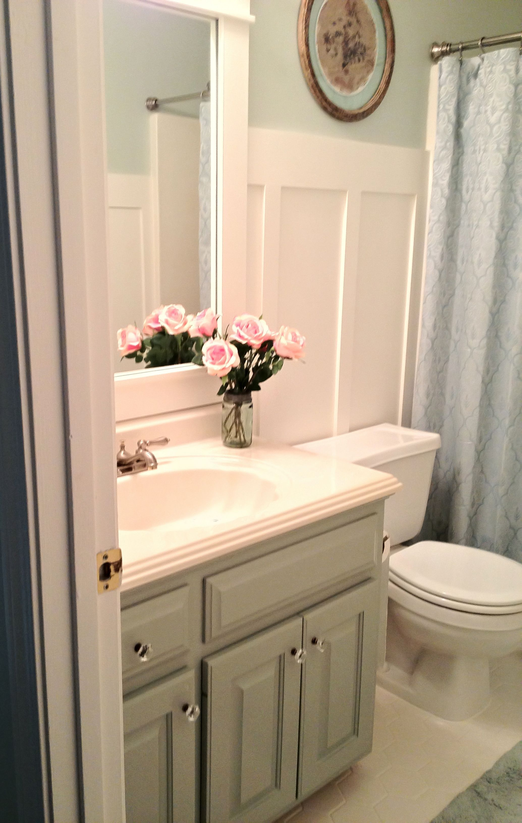 Painted 20 Year Old Oak Cabinets With Sherwin Williams Oyster Bay Oak Cabinets Trendy Bathroom Best Bathroom Paint Colors [ 3264 x 2069 Pixel ]