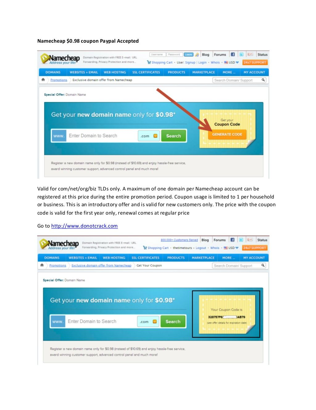 Namecheap 098 Coupon Paypal Accepted Namecheap Coupon Code