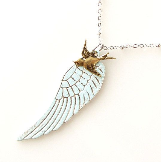 clearance jewelry rustic wing necklace clearance by KriyaDesign
