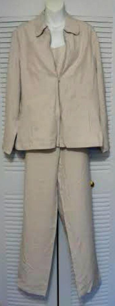 Unique Silk 3 piece set Pants, Jacket, Tank Size 14 Beige 100% Silk NWT #UniqueSilk #PantSuit