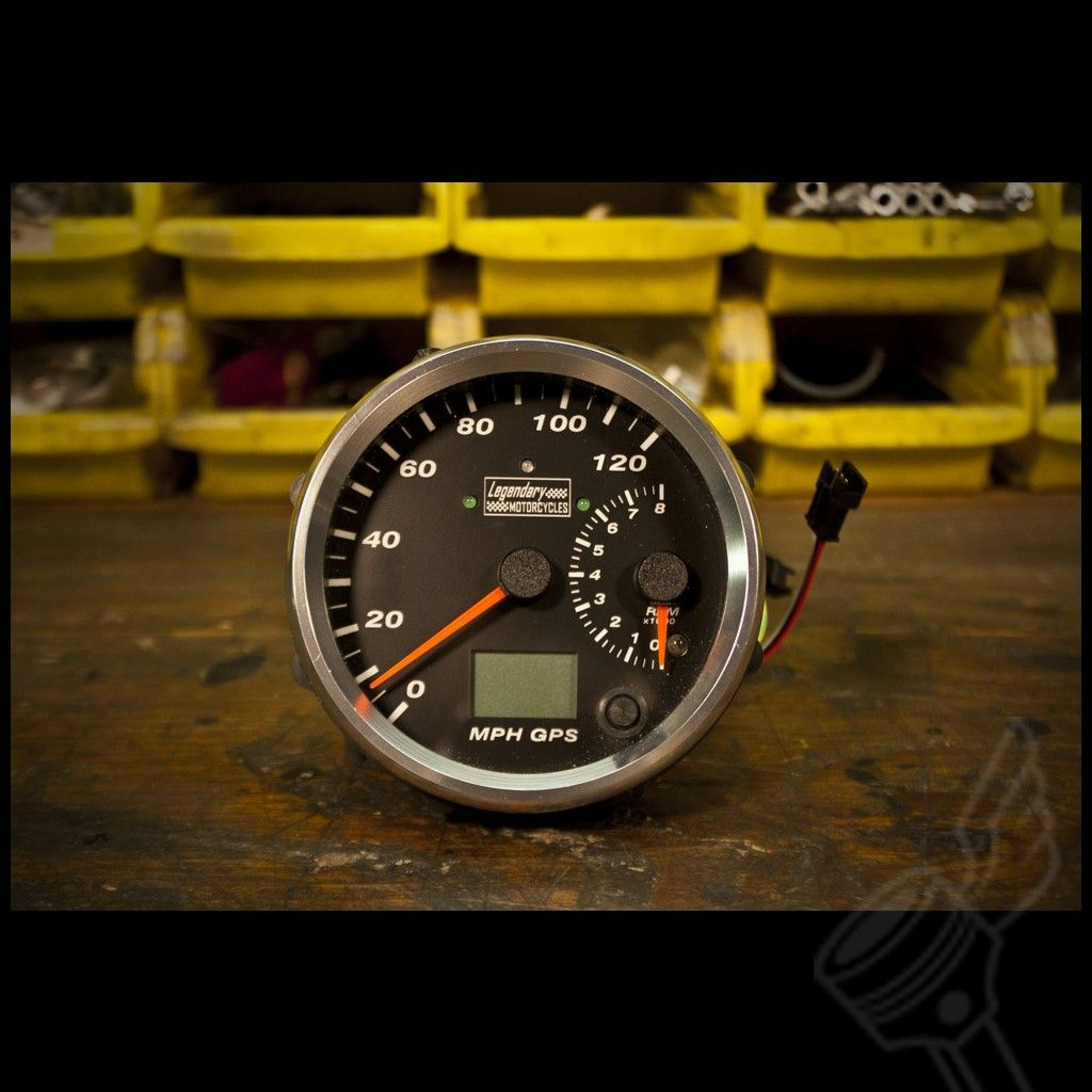 4 legendary motorcycles chrome electronic gps speedometer tachometer black face  [ 1024 x 1024 Pixel ]