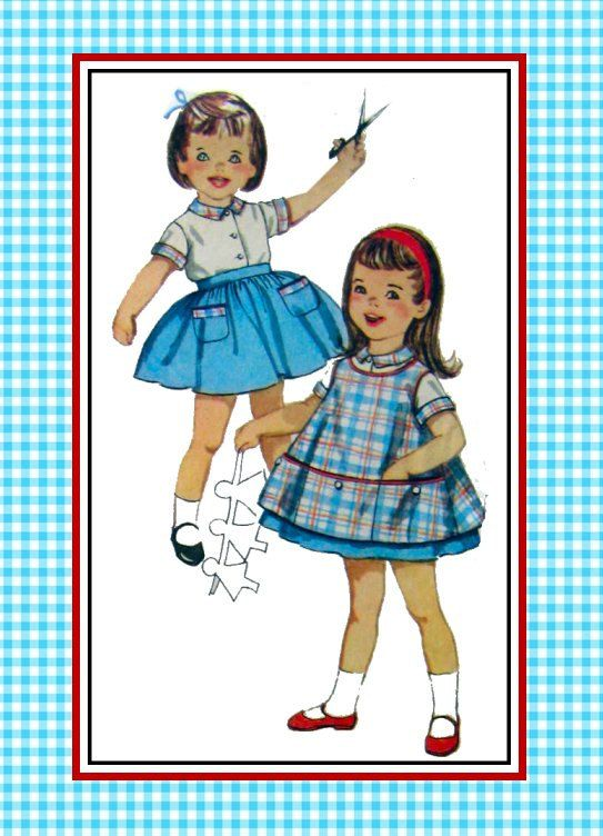 Vintage 1960s-ARTIST PLAY SMOCK-Sewing Pattern-3  Big Pockets-Bias Binding-Rick Rack Trim -Top-Pants-Skirt-Contrast Collar-Cuffs-Size 2-Rare by FarfallaDesignStudio on Etsy