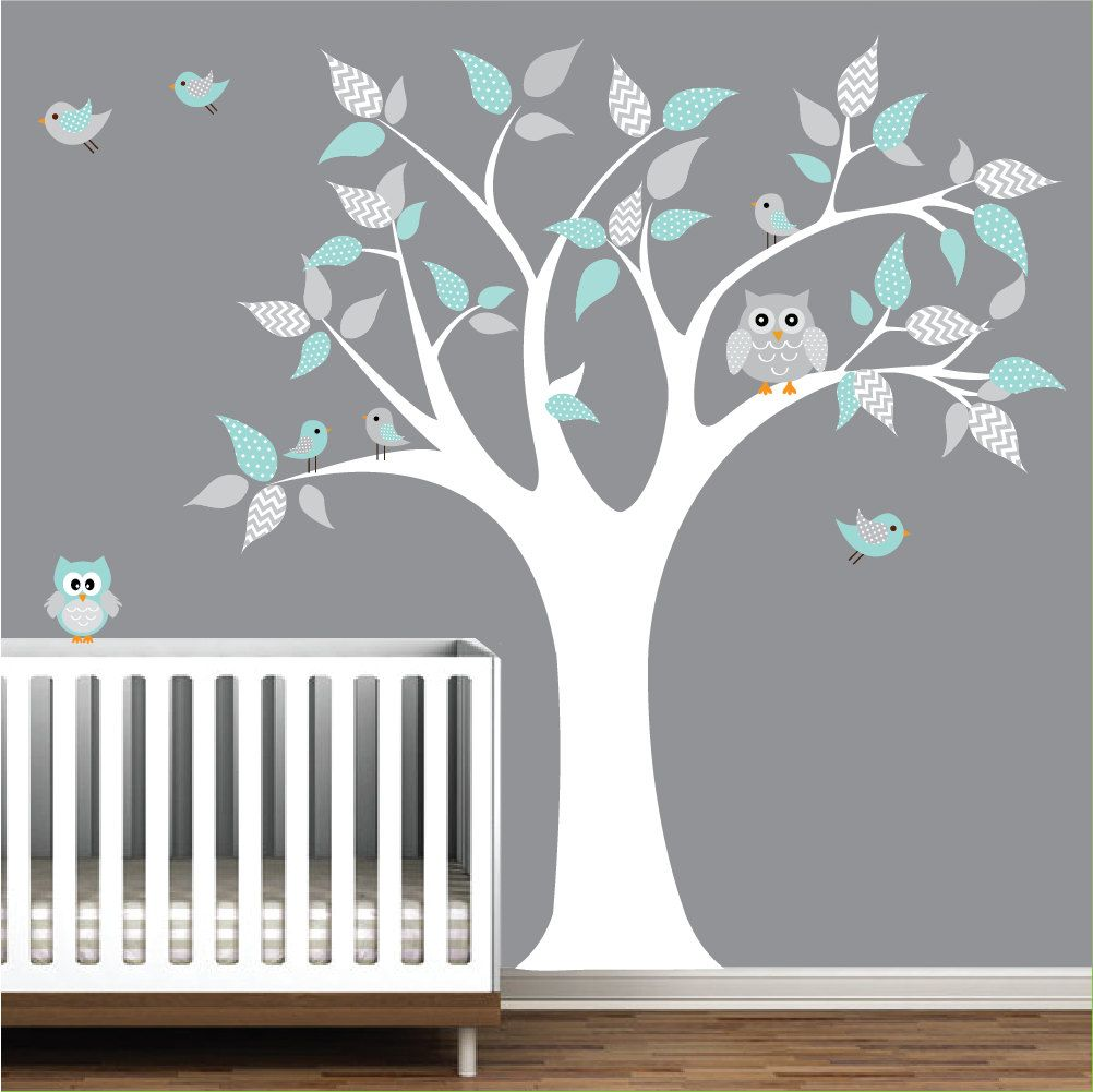 Children Vinyl Wall Decals Tree Decal With Owls Nursery Kids Wall
