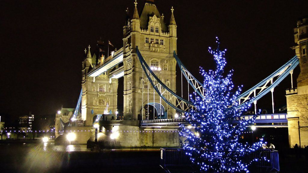 Tower Bridge in Christmas lights