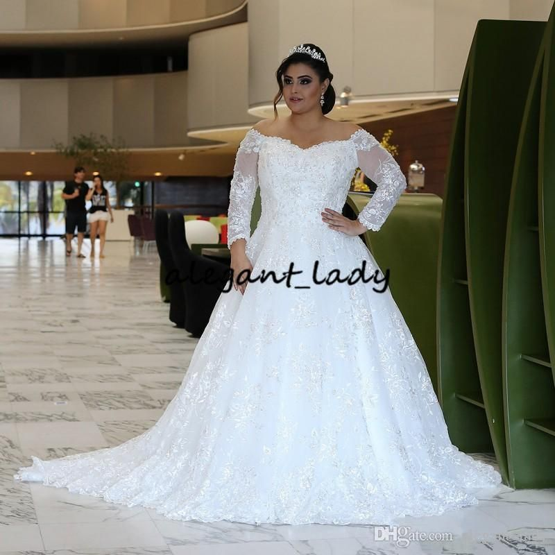 Discount Sparkly Lace Long Sleeves Wedding Dresses 2019 Off Shoulder Beaded Sweep Train Tulle Plus Size Temple Bridal Dress Vestido De Novia Wedding Dress Hire Long Sleeve Wedding Dress Lace
