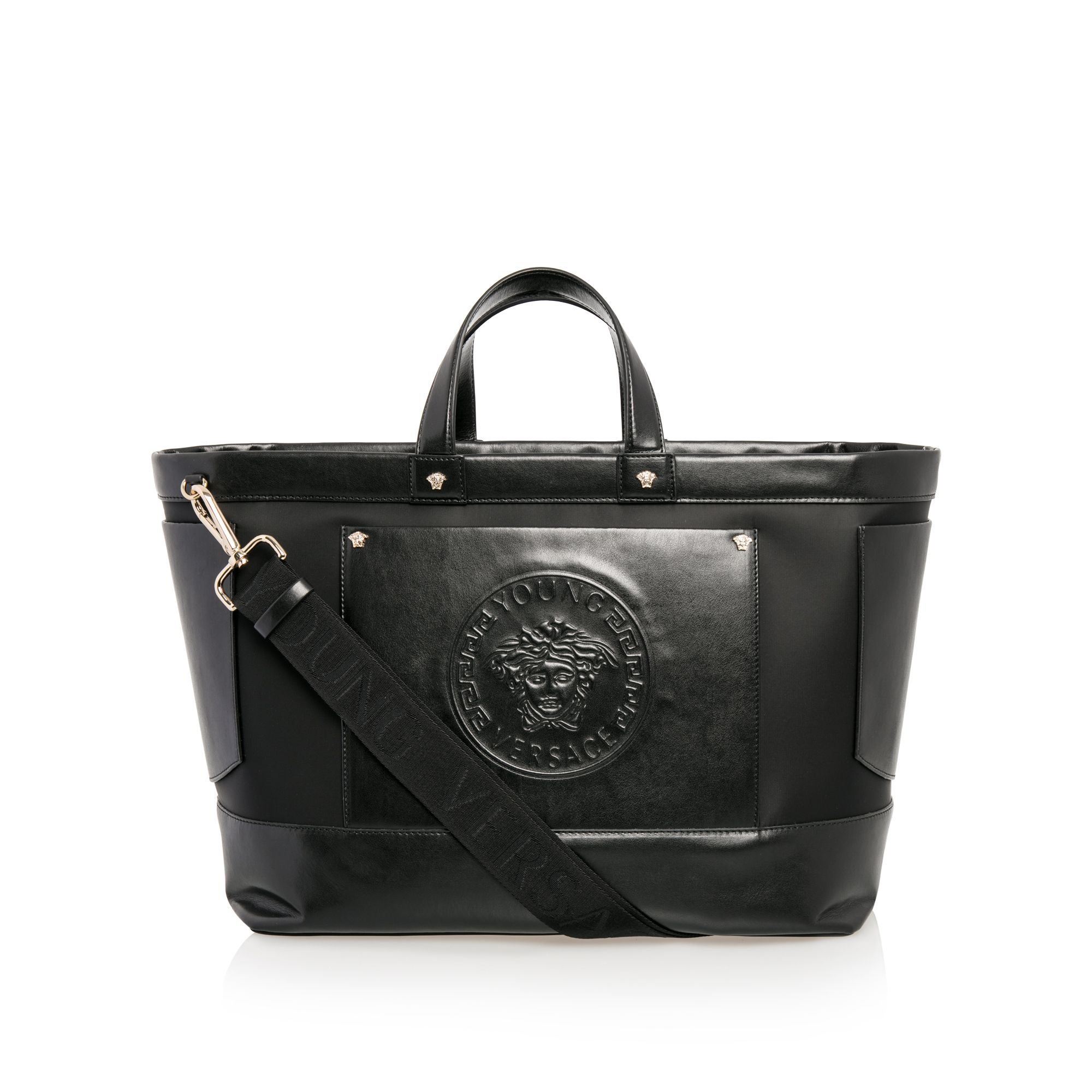 a7d96ea98469 YOUNG VERSACE Baby Girls Medusa Changing Bag - Black Baby girls changing bag  • Premium leather fabric • Two carry handles • Adjustable shoulder strap •  Main ...