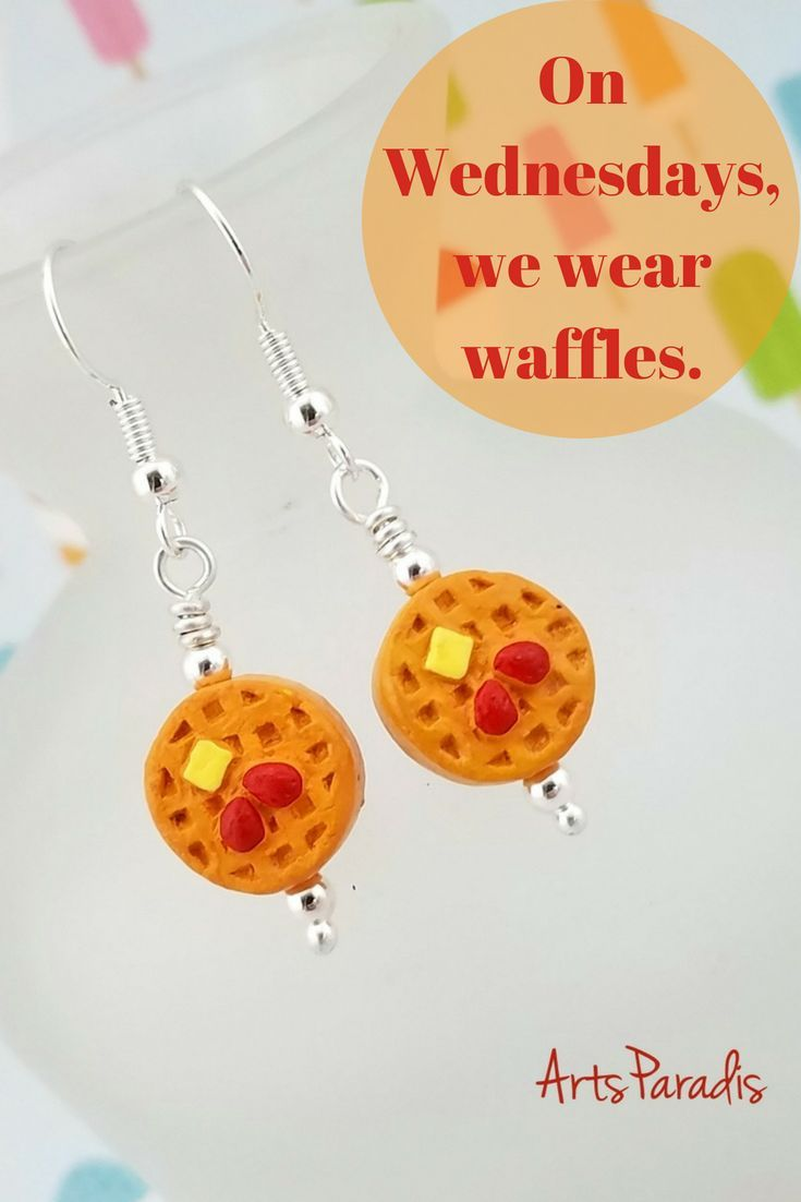 Ceramic Belgian Waffle Dangle Earrings by ArtsParadis - Breakfast Pastry with Fruit. Click the link