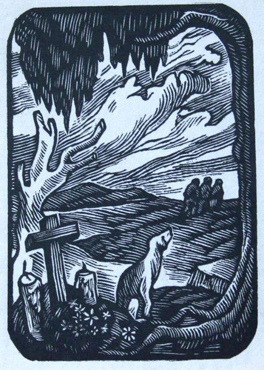 Colección Blaisten Abelardo Avila. Entierro (ca. 1945)  Grabado, madera de pie 12.3x8.5 cm.