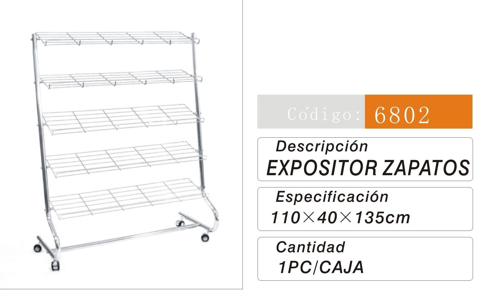 Estanterías y expositores Metalicos : 6802/038028 EXPOSITOR CALZADO 110*40*135