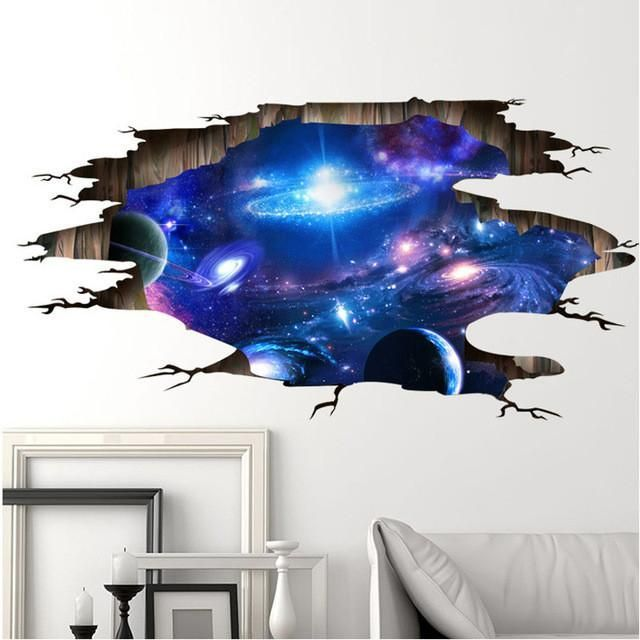 3d Outer Space Wall Sticker Kid Room Decor Shabby Chic Bedrooms
