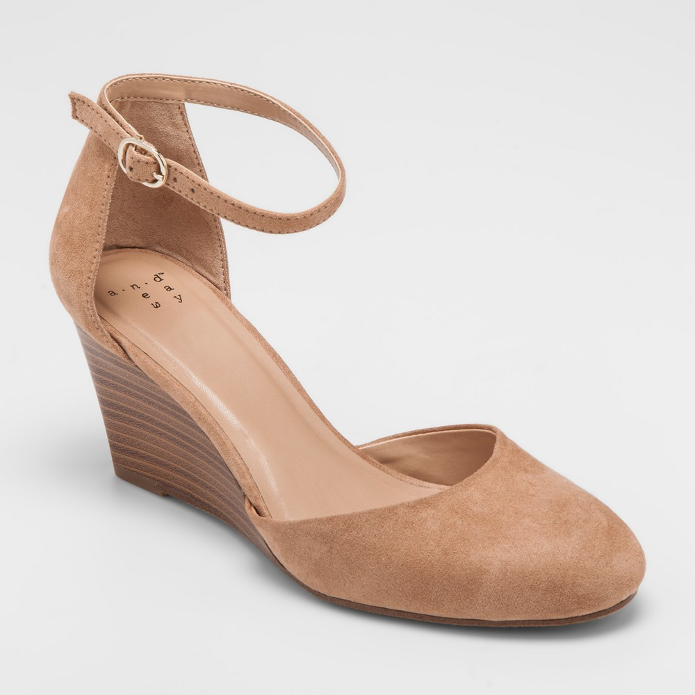 205e5be5706 Women's Wendi Closed Toe Wedge Pumps - A New Day Taupe 12, Brown in ...