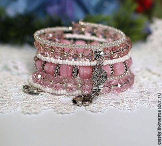 """Купить Многорядный браслет """"Зефирный"""" - розовый, многорядный браслет, многоярусный браслет, много браслетов"""