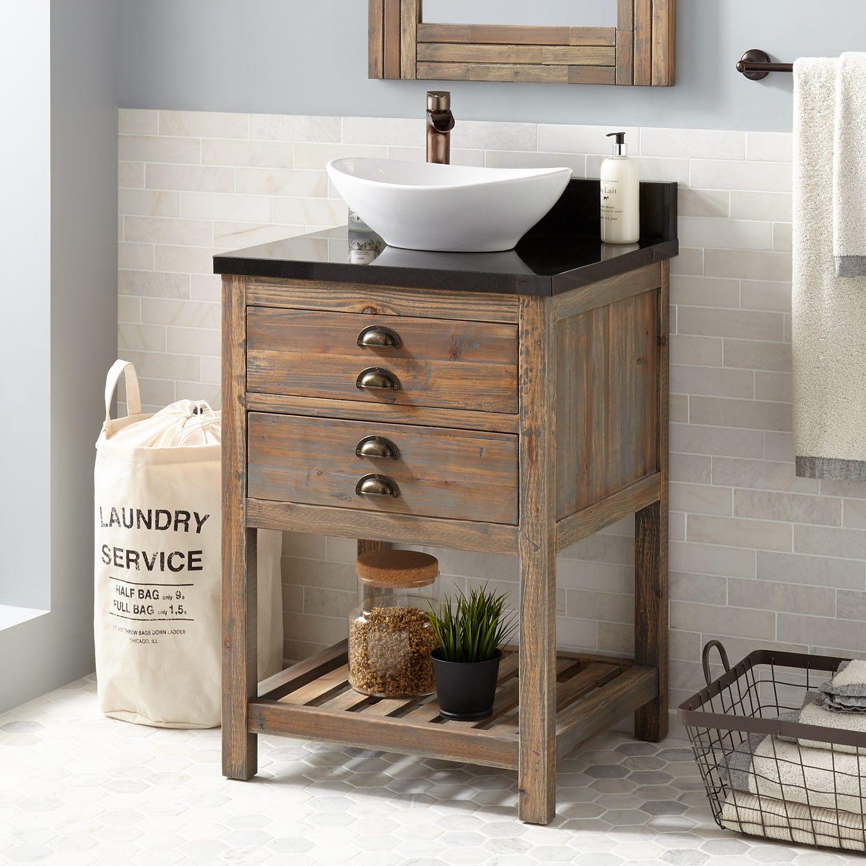 24 Benoist Reclaimed Wood Vessel Sink Vanity Gray Wash Pine