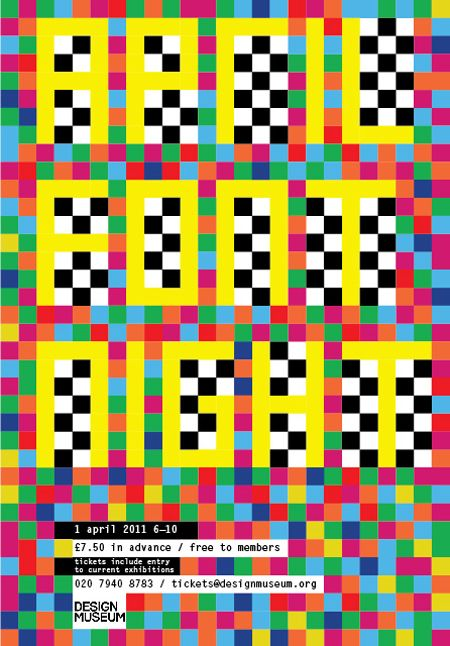 Flyer for the April Font Night, Design Museum London. Morag Myerscough
