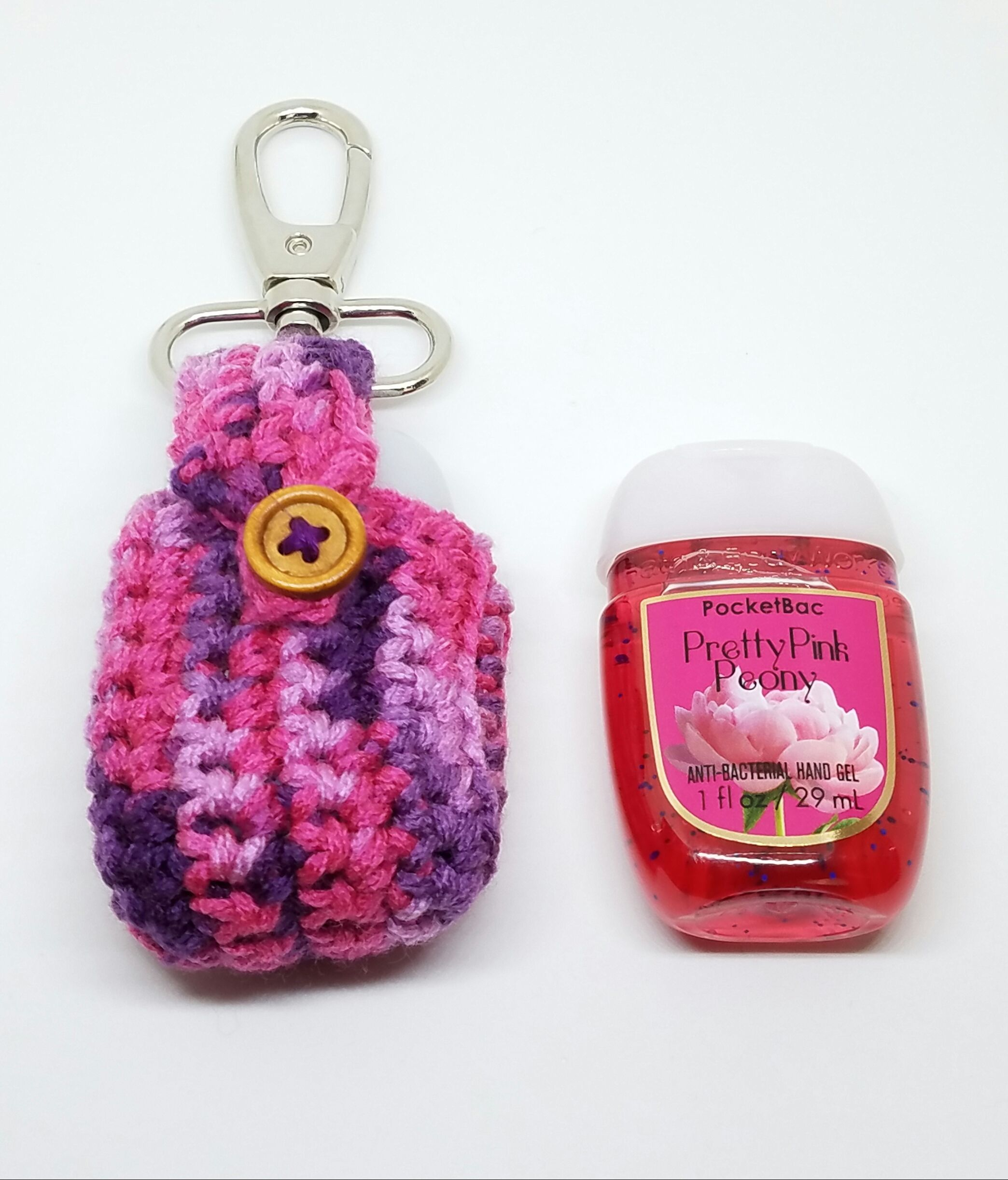 Crochet Plum Hand Sanitizer Clip Plums Pocketbac Holder Backpack