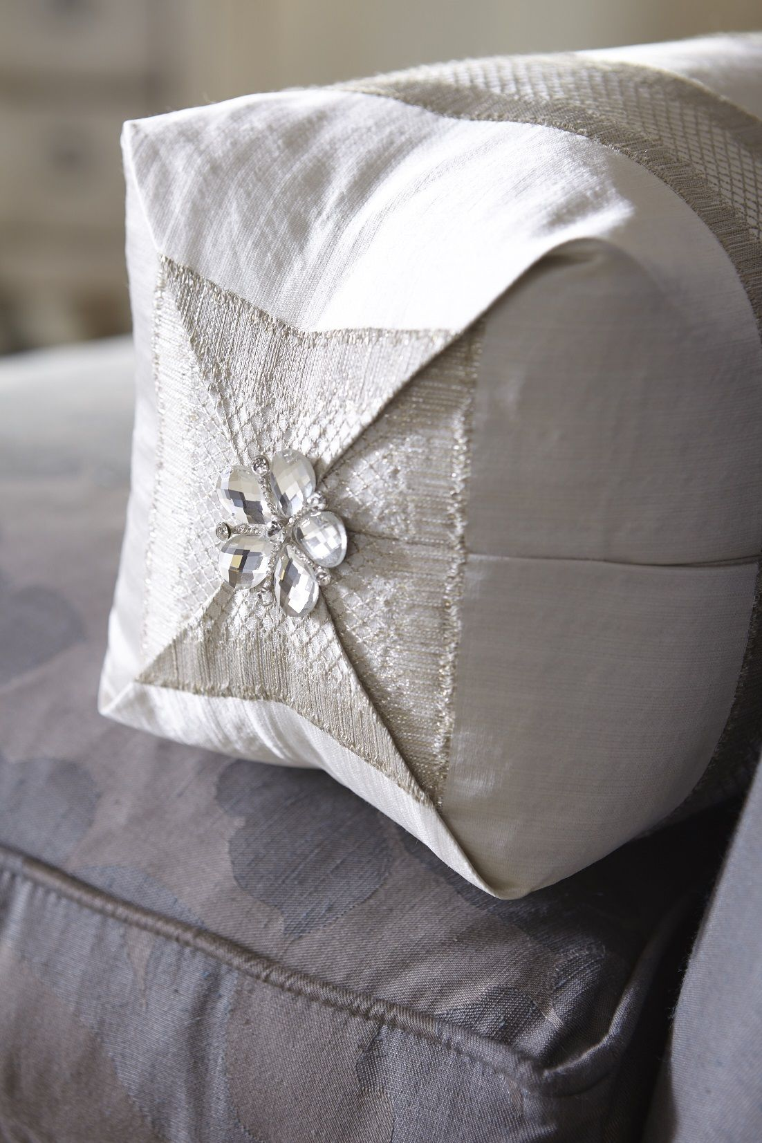 champagne striped bolster pillow