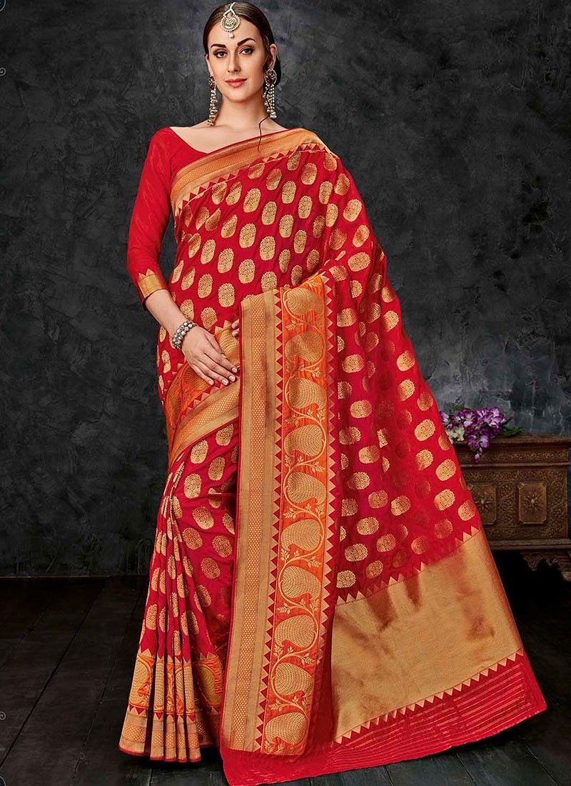 b7ca325bf95 Shop Online Red Banarasi Silk  FancySilkSaree  Chennaistore.com ...