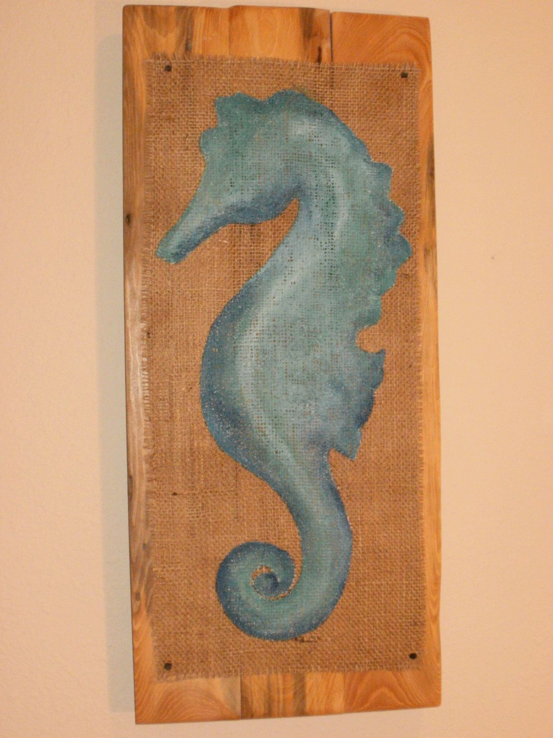 Beach decor painted Seahorse by itscandygirl on
