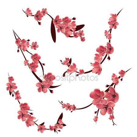 Descargar Ramas De Sakura Flor Rosa Arbol De Cerezo Japones Icono De Vector Aislado Conjunt Flor De Cerezo Dibujo Tatuajes De Flor De Cerezo Flor De Cerezo