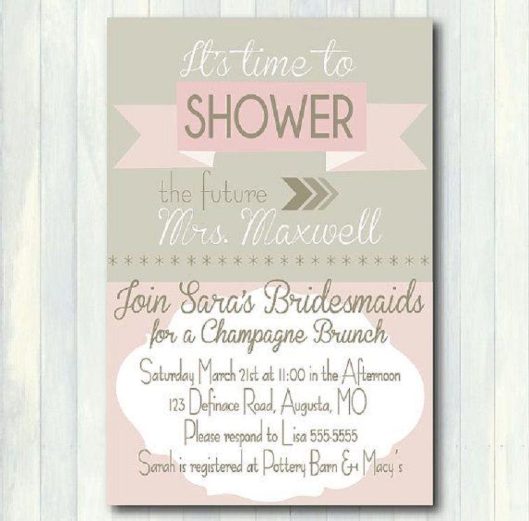 Champagne Brunch Bridal Shower Invitation Wording