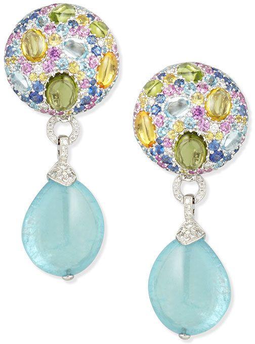 375c0e188 Margot McKinney 18K White Gold Multi-Stone & Aquamarine Drop Earrings