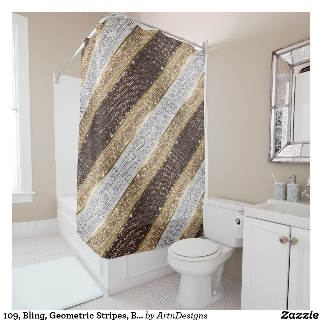 109 Bling Geometric Stripes Brown Silver Gold Shower Curtain