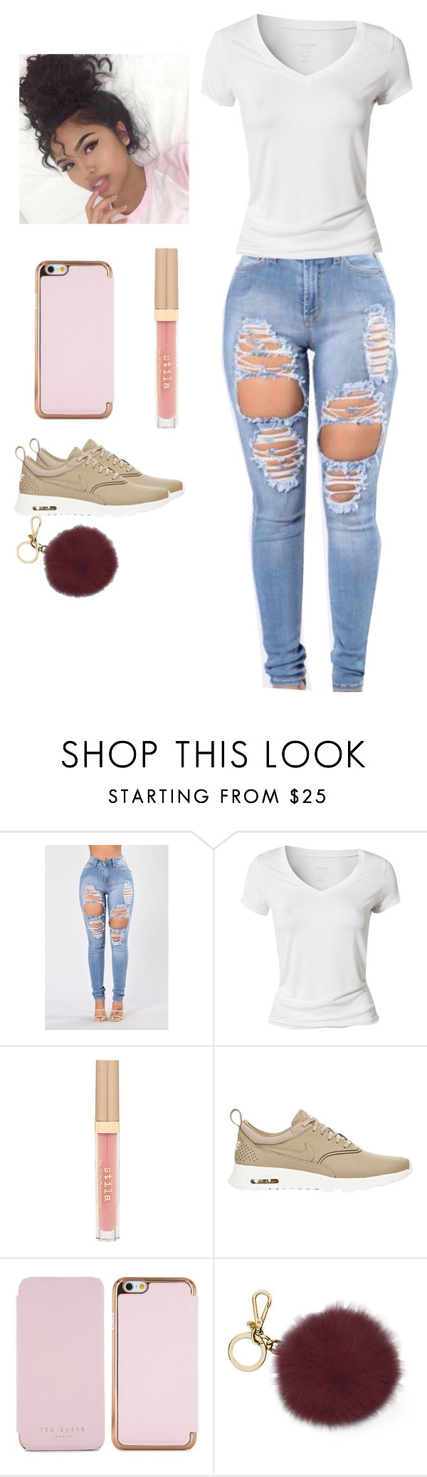 """""""laid back kinda day"""" by official-jamaya ❤ liked on Polyvore featuring Calvin Klein, Stila, NIKE, Ted Baker and Michael Kors"""
