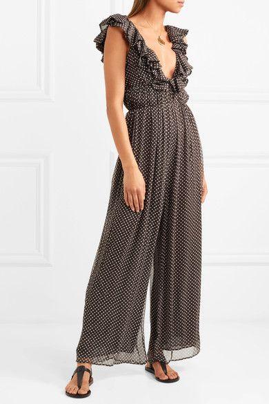 47176120ba9 Zimmermann - Cascade Ruffled Polka-dot Silk-georgette Jumpsuit - Charcoal