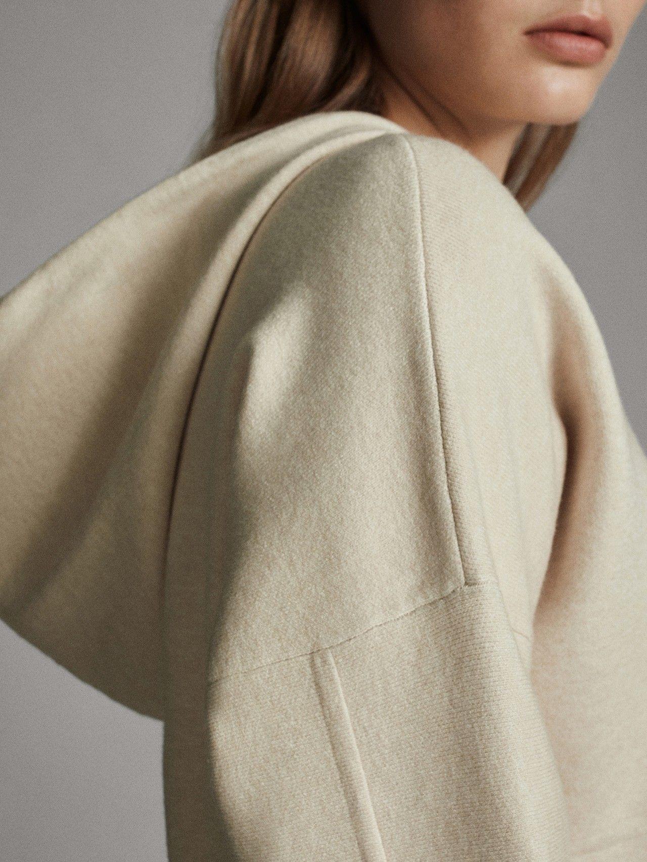 Massimo Dutti Mujer Capa Capucha De Punto Beige Xs Massimo Dutti Tracksuit Women Knit Hoodie