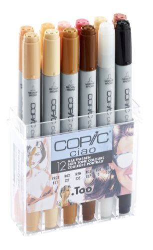 Copic Ciao Marker 12 Pen Skin Tones Set Twin Tipped 12