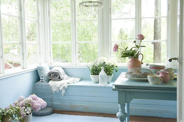 pretty pale blue porch