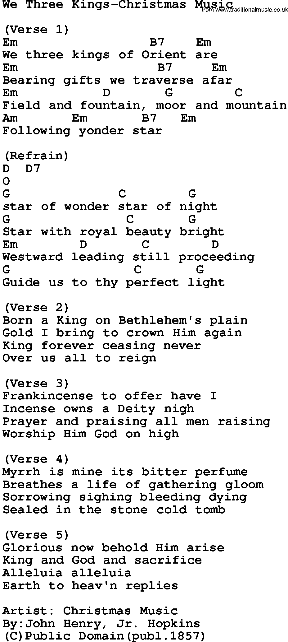 Music We Three Kings Song | Download: We Three Kings-Christmas Music ...