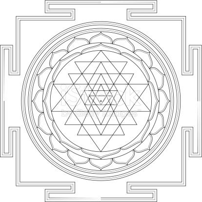 Vector Drawing Of The Traditional Sri Yantra Mandala Used In