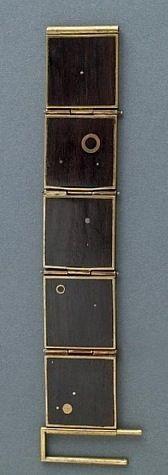Peter Macchiarini, bracelet of sterling-linked ebony squares and brass inset circles