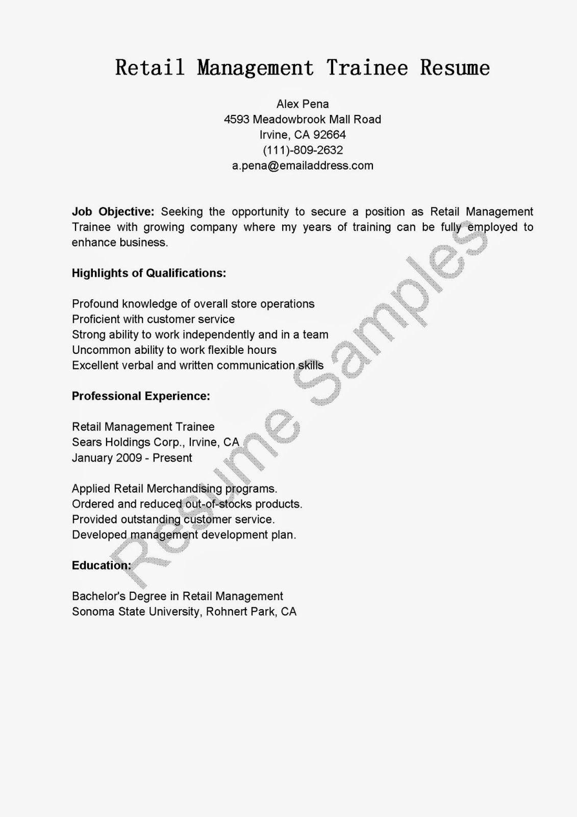 Retail Management Trainee Resume Sample Resume Management Retail