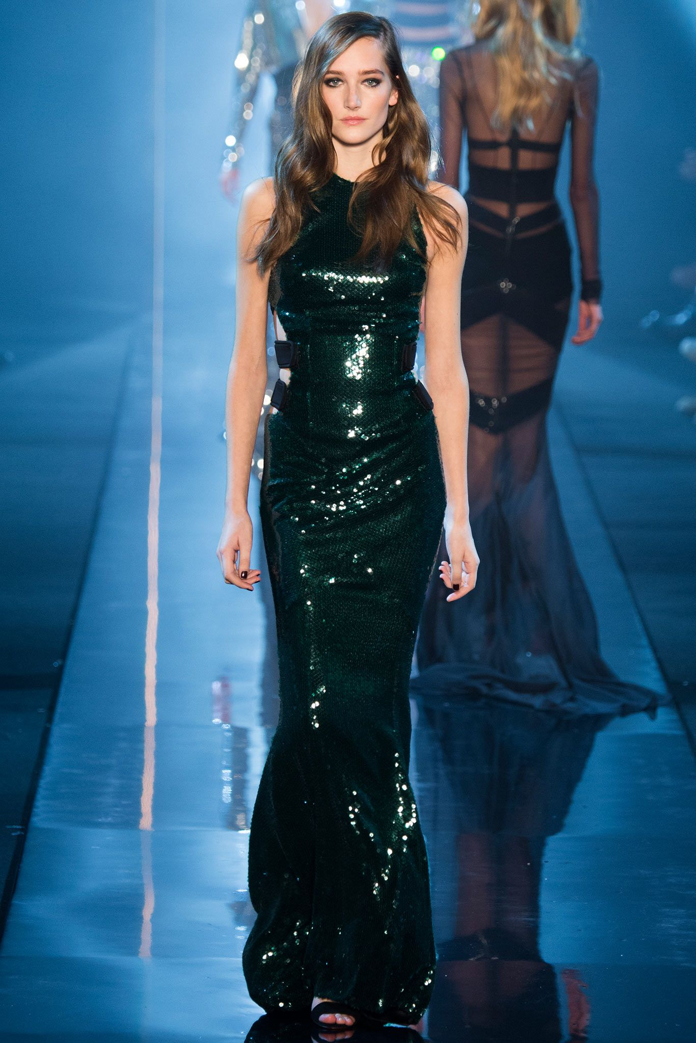 Alexandre Vauthier | Spring 2015 Couture | 27 Green sequined cut out sleeveless maxi dress