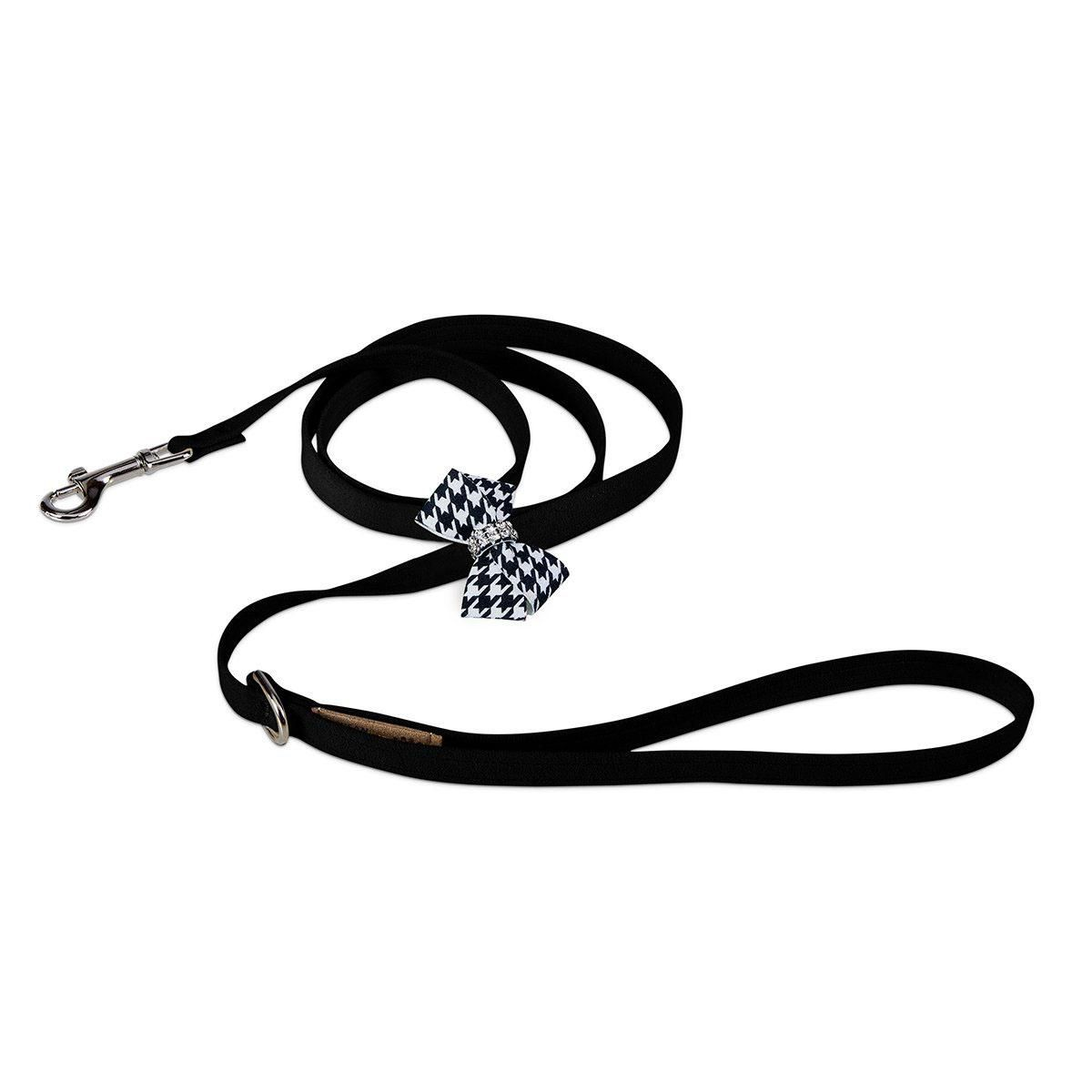 Black Amp White Houndstooth Nouveau Bow Dog Leash By Susan