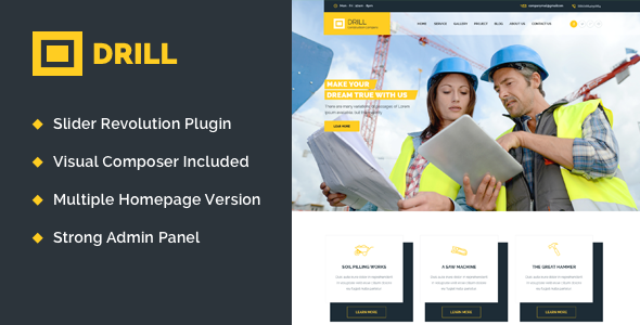 Theme Drill 1.1 – Construction & Building WordPress Theme | Download ...