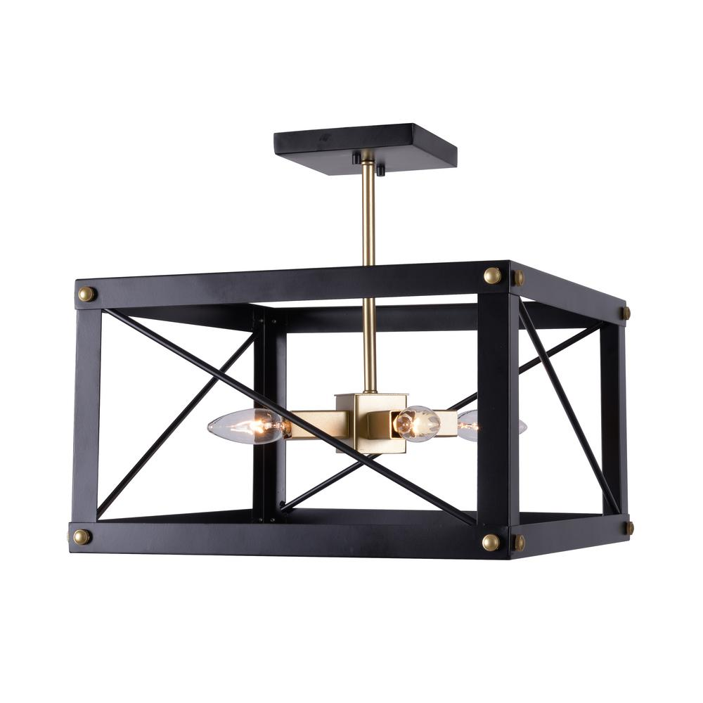 Kenroy Home Courtney 4 Light Black And Gold Semi Flush Mount Light 94032bl The Home Depot Kenroy Home Flush Mount Lighting Semi Flush Mount Lighting