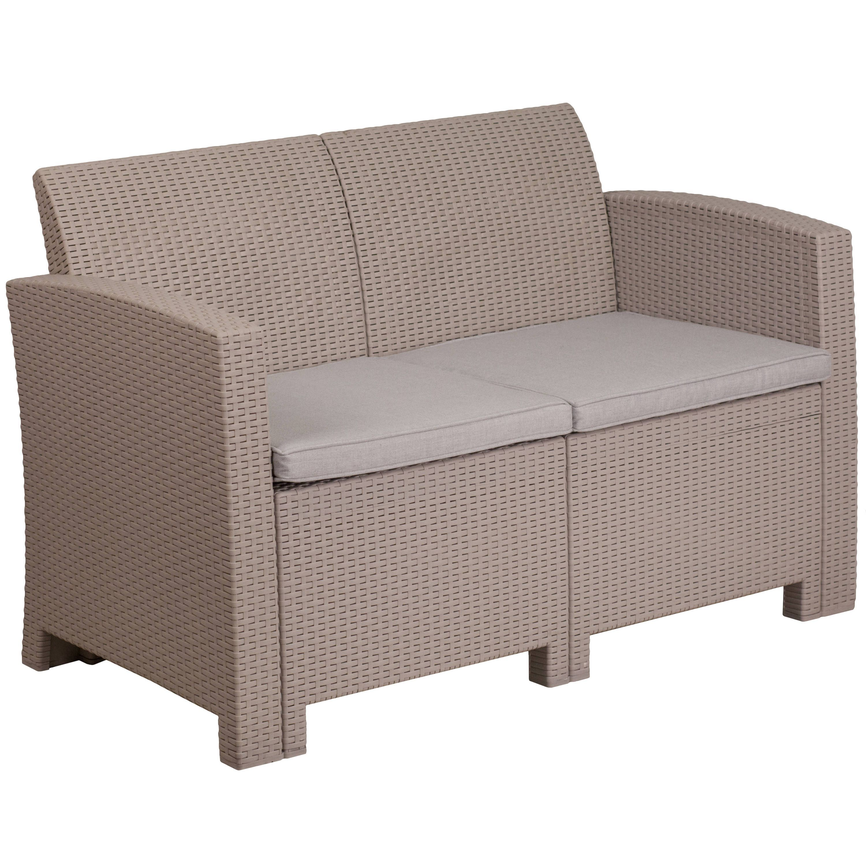 Fine Flash Furniture Faux Rattan Loveseat With All Weather Cjindustries Chair Design For Home Cjindustriesco