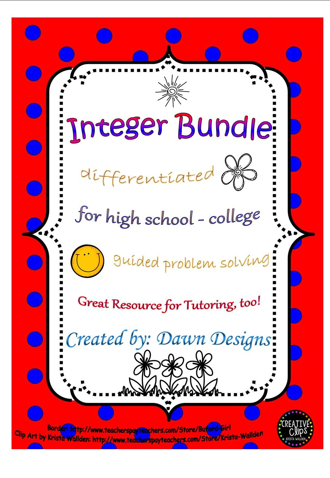 Integer Worksheet Bundle Of Operations