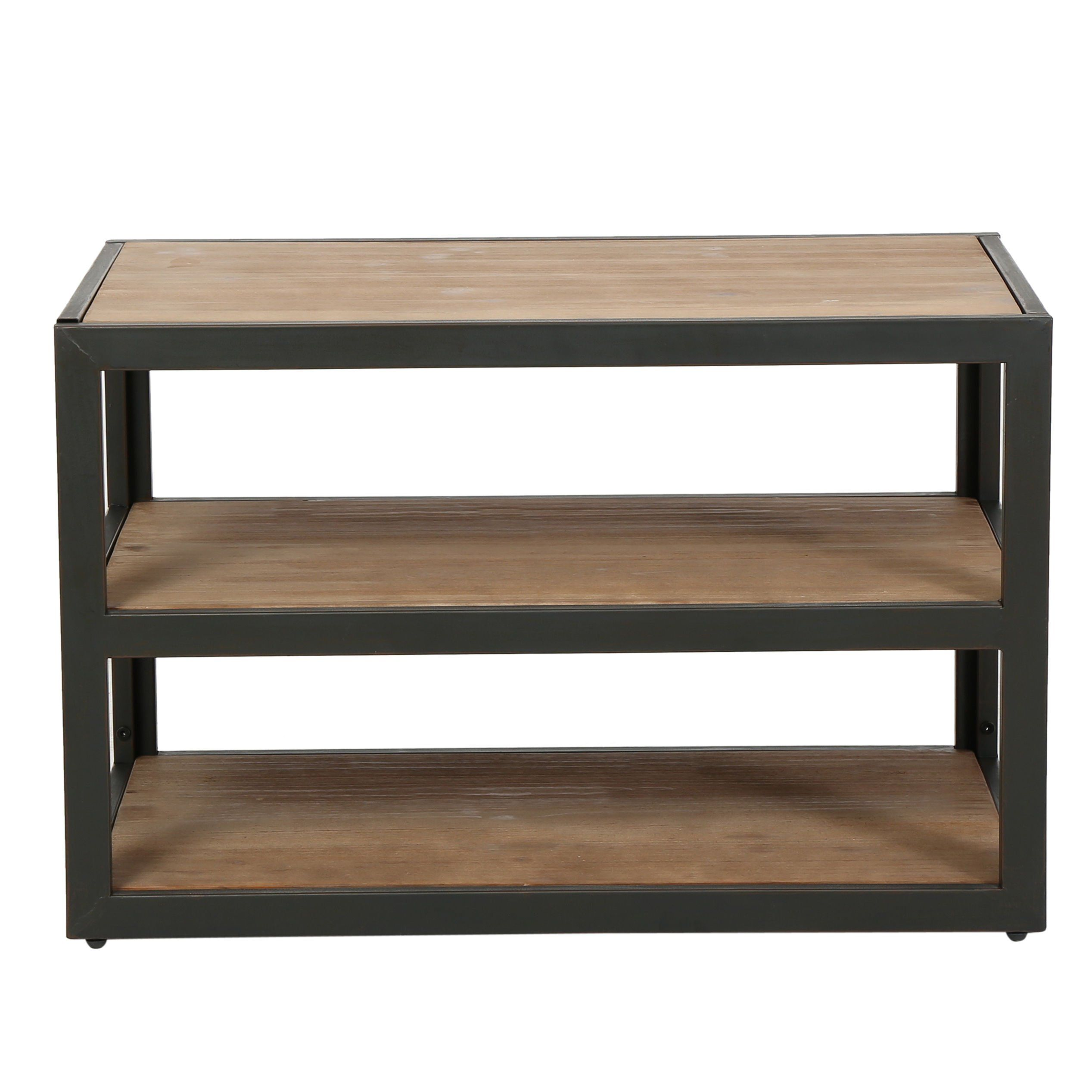 Modern Industrial Rustic Brown 3-Shelves Rectangle Shaped TV Stand Media Console | Wooden Top and Black Metal Frame, Living Room Decor - Includes ModHaus Living Pen