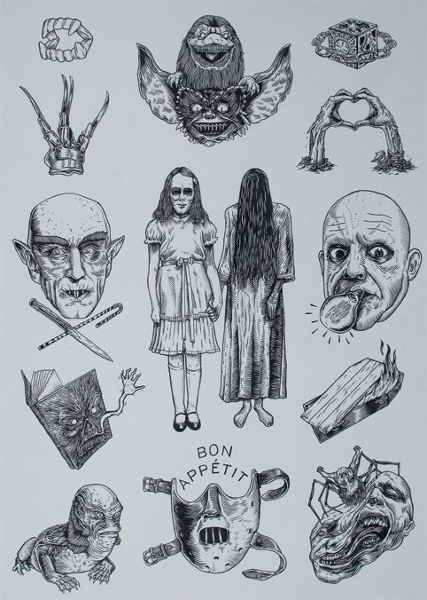horror style flash page with nice clean lines and looks like it has just been done with a fine liner