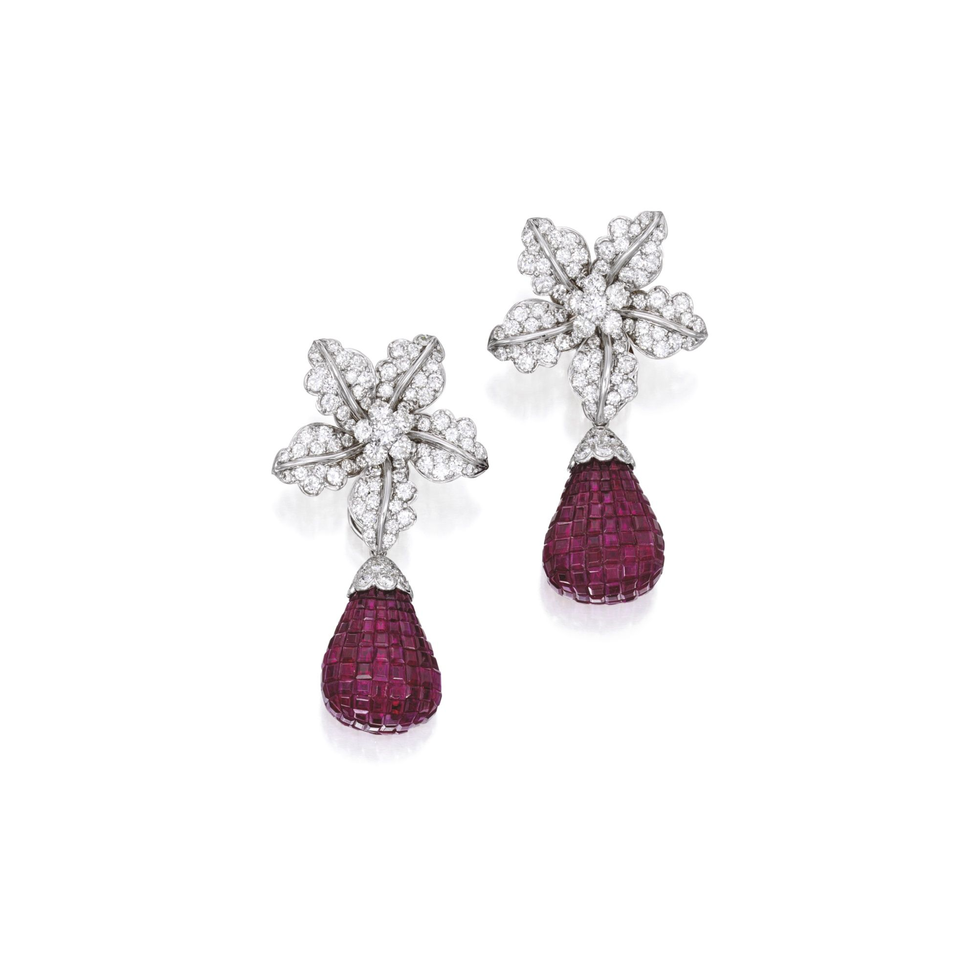 34c91ee6f Pair of 18 Karat White Gold, Diamond and Ruby Pendant-Earclips, Aletto  Brothers The tops of floral design with en tremblant centers