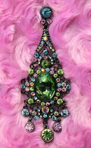"Black Filigree Green Victorian Earrings-Multi Color Crystals Chandelier 3 1/2"" Fringeflowersandfrills.com"