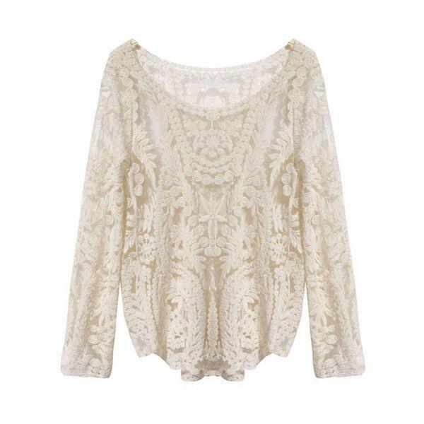 Long Sleeve Crochet Lace Shirt Fashion Lace Long Sleeve Shirt Crochet Lace Top